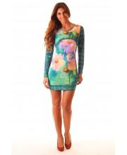 EUGENIA, Vestido M larga,  estampado floral