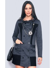Vestido   combinado  negro   38-M001